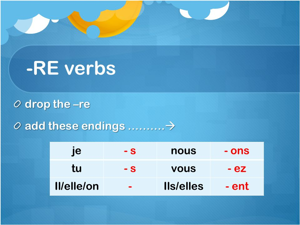 -RE verbs drop the –re add these endings ………. add these endings ……….