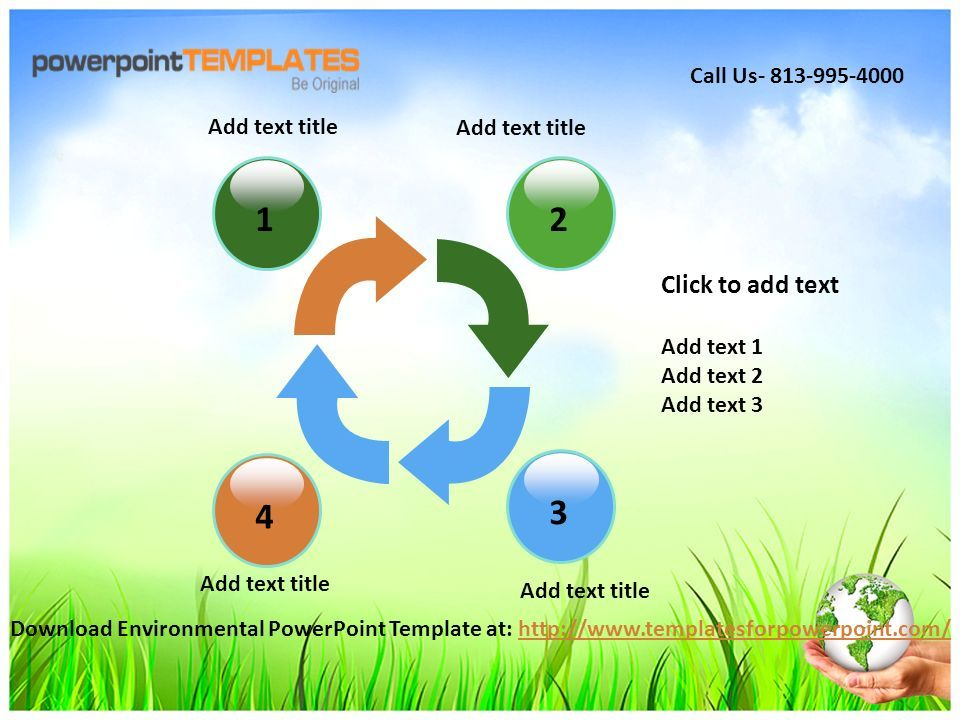 1234 Add text title Click to add text Add text 1 Add text 2 Add text 3 Add text title Download Environmental PowerPoint Template at:   Call Us