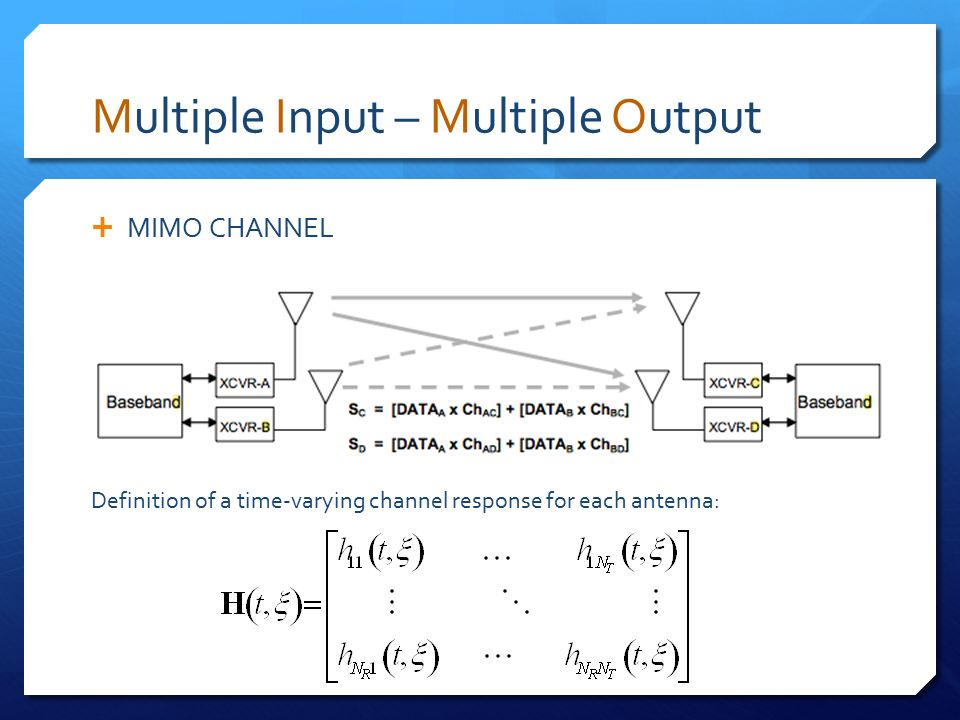 multiple input multiple output mimo Multiple input/multiple output (mimo) is an area of intense development in the wireless industry because it delivers profound gains in range, throughput and reliability as a result, manufacturers of wireless local area network (wlan), wireless metropolitan area network (wman.