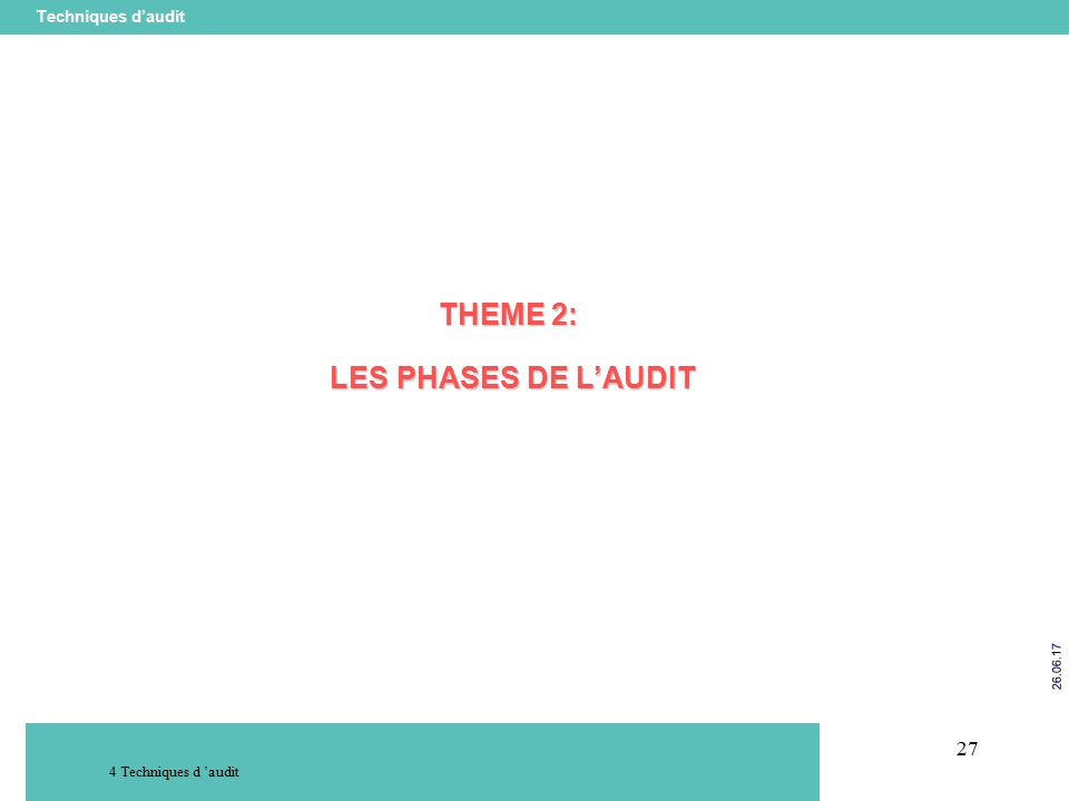 27 Techniques d'audit Techniques d 'audit THEME 2: LES PHASES DE L'AUDIT LES PHASES DE L'AUDIT