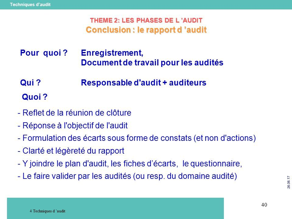 40 Techniques d'audit Techniques d 'audit THEME 2: LES PHASES DE L 'AUDIT Conclusion : le rapport d 'audit Pour quoi Enregistrement, Document de travail pour les audités Qui .