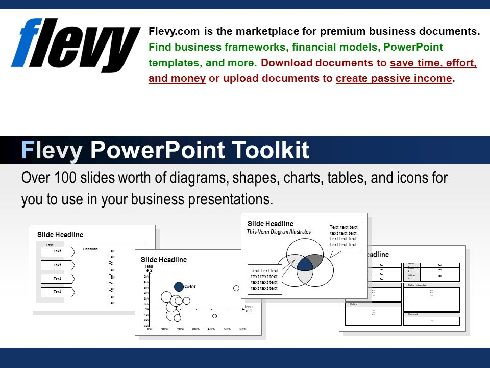 Over 100 slides worth of diagrams, shapes, charts, tables, and icons for you to use in your business presentations.