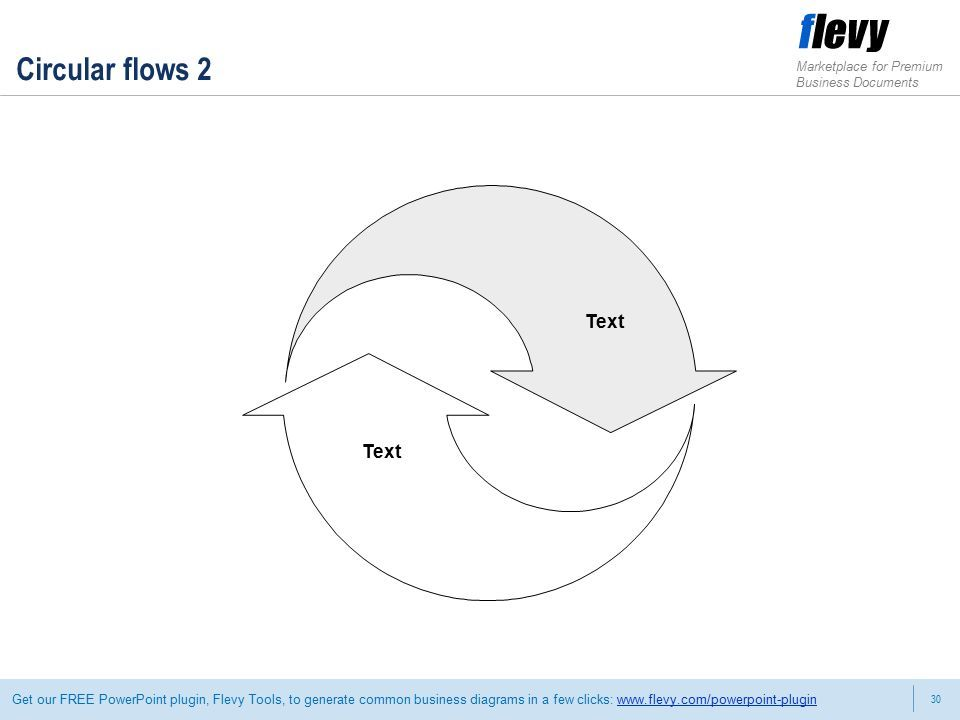 30 Marketplace for Premium Business Documents Get our FREE PowerPoint plugin, Flevy Tools, to generate common business diagrams in a few clicks:   Circular flows 2 Text