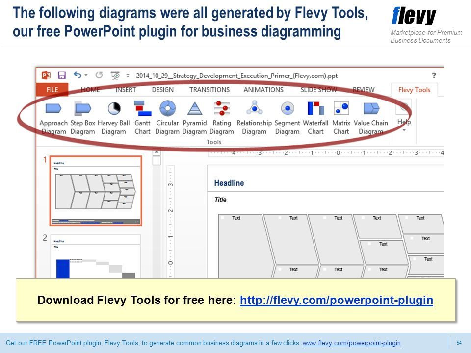 54 Marketplace for Premium Business Documents Get our FREE PowerPoint plugin, Flevy Tools, to generate common business diagrams in a few clicks:   The following diagrams were all generated by Flevy Tools, our free PowerPoint plugin for business diagramming Download Flevy Tools for free here:   Download Flevy Tools for free here: