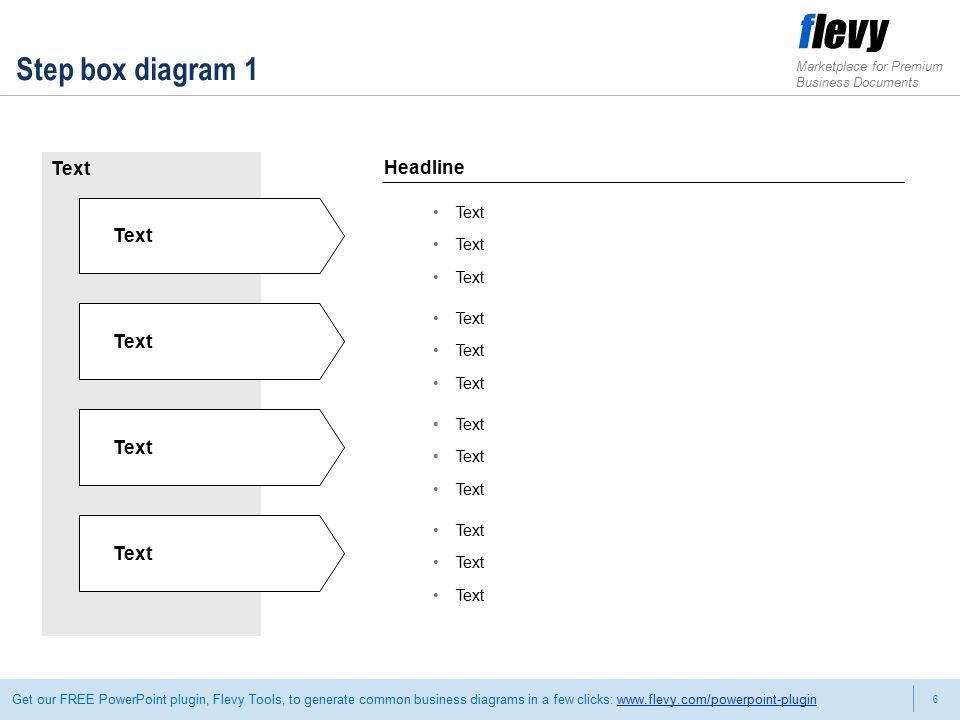 6 Marketplace for Premium Business Documents Get our FREE PowerPoint plugin, Flevy Tools, to generate common business diagrams in a few clicks:   Step box diagram 1 Text Headline Text