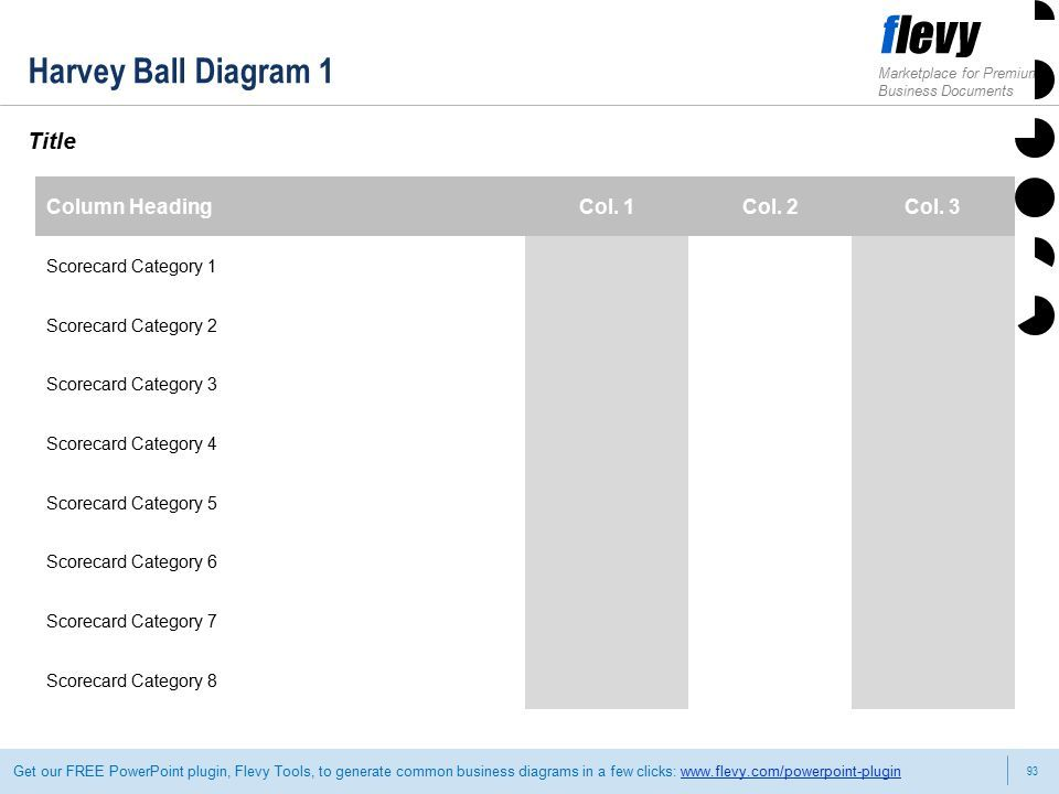 93 Marketplace for Premium Business Documents Get our FREE PowerPoint plugin, Flevy Tools, to generate common business diagrams in a few clicks:   Harvey Ball Diagram 1 Title Column HeadingCol.