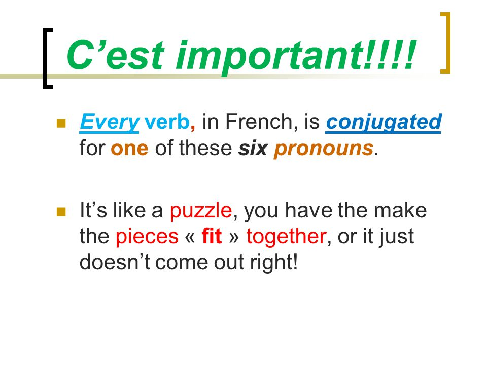 Cest important!!!. Every verb, in French, is conjugated for one of these six pronouns.