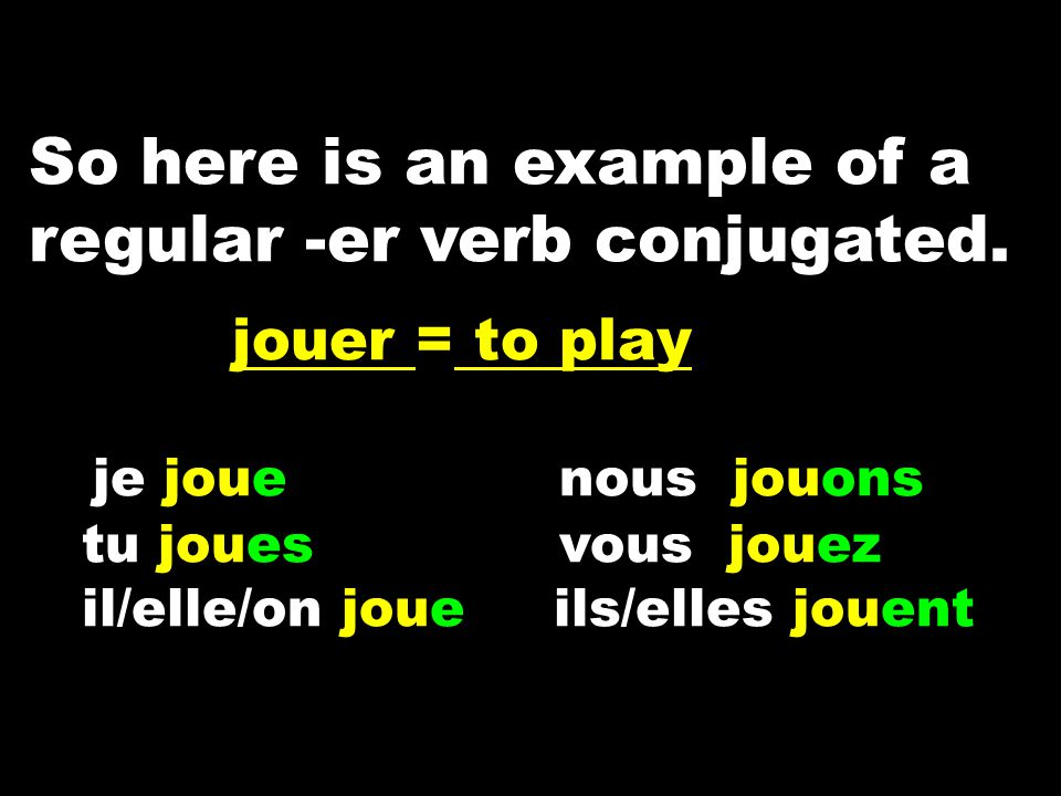 So here is an example of a regular -er verb conjugated.