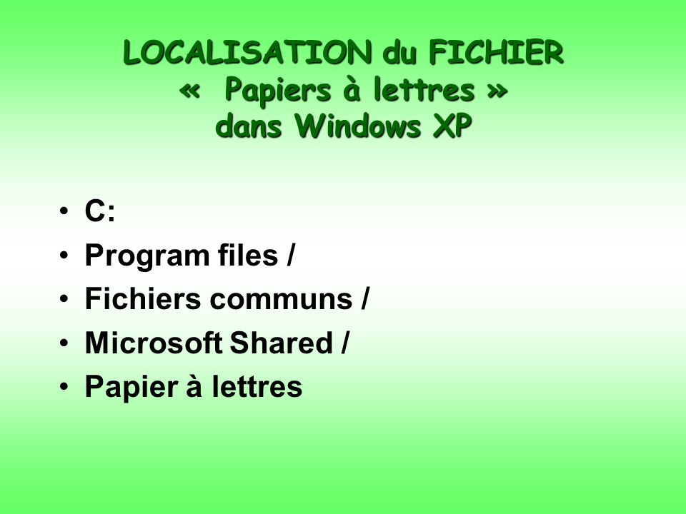 LOCALISATION du FICHIER « Papiers à lettres » dans Windows XP C: Program files / Fichiers communs / Microsoft Shared / Papier à lettres