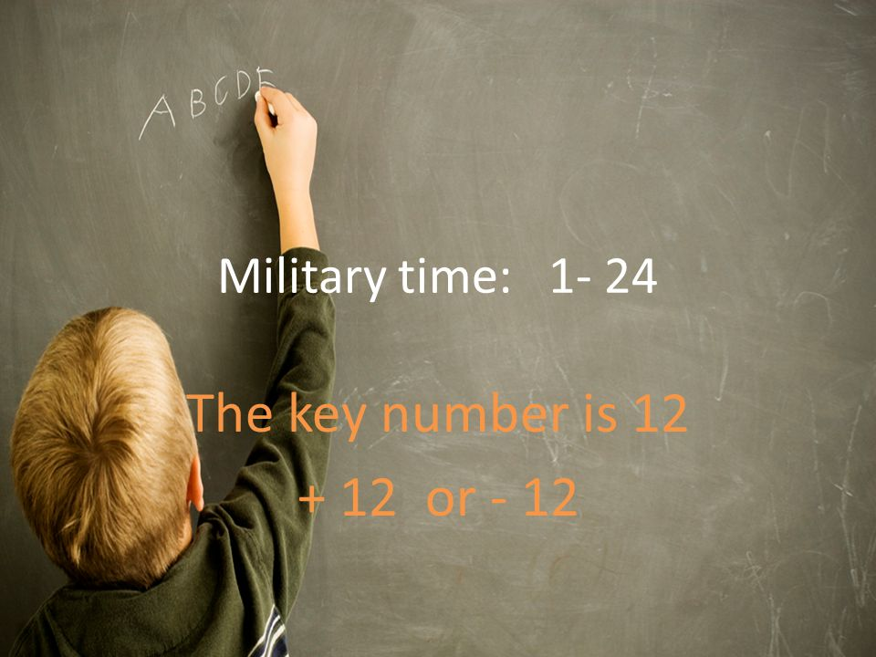 Military time: The key number is or - 12
