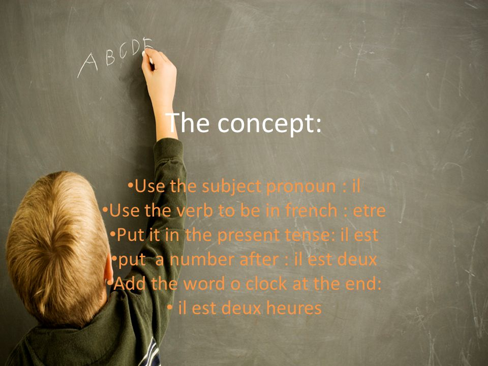 The concept: Use the subject pronoun : il Use the verb to be in french : etre Put it in the present tense: il est put a number after : il est deux Add the word o clock at the end: il est deux heures