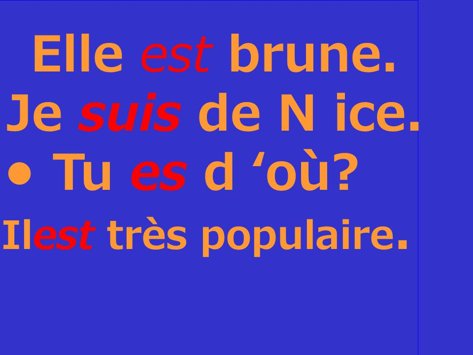Fill in the blanks with a form ofêtre Elle___ brune.
