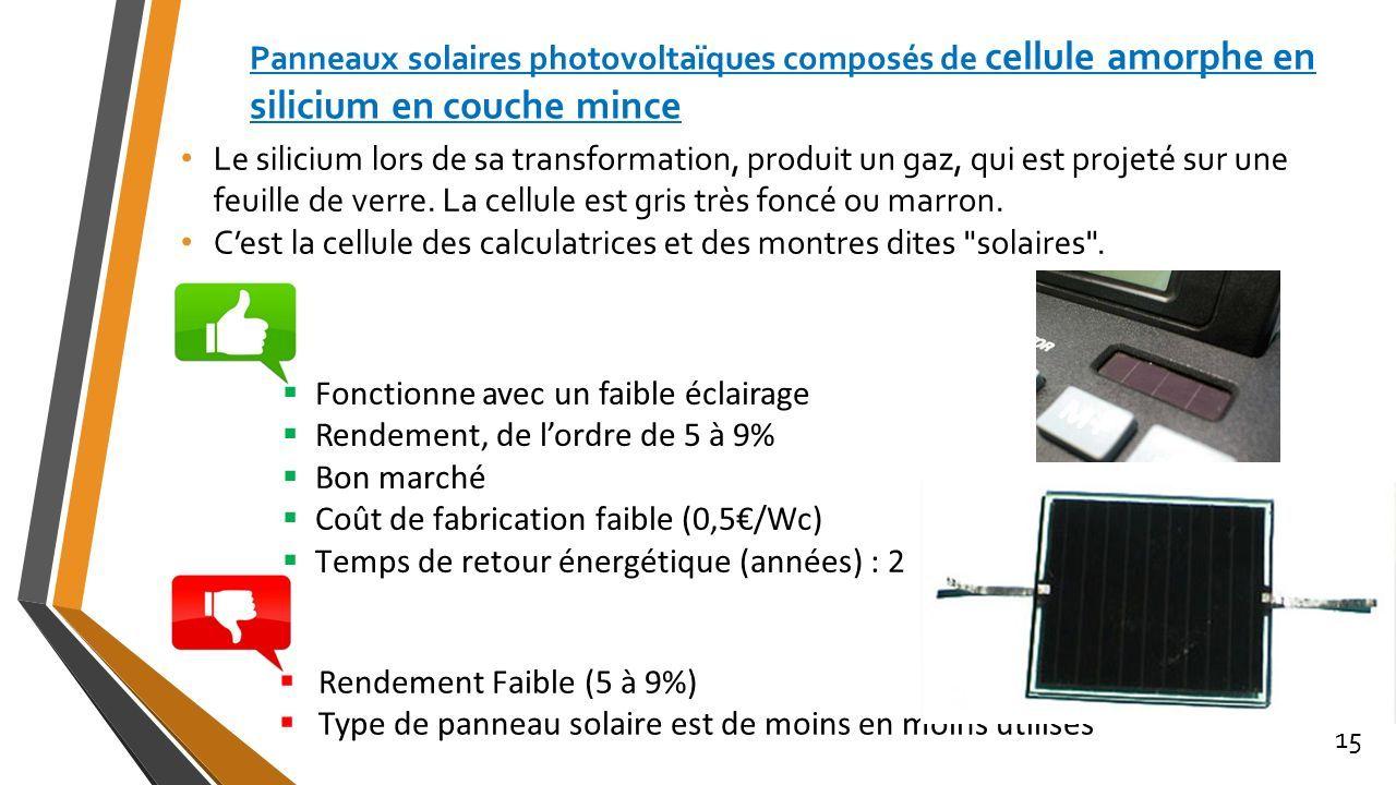 Cellule Photovoltaïque En Silicium Amorphe tout les panneaux solaires ou photovoltaïques 1. plan ppt télécharger