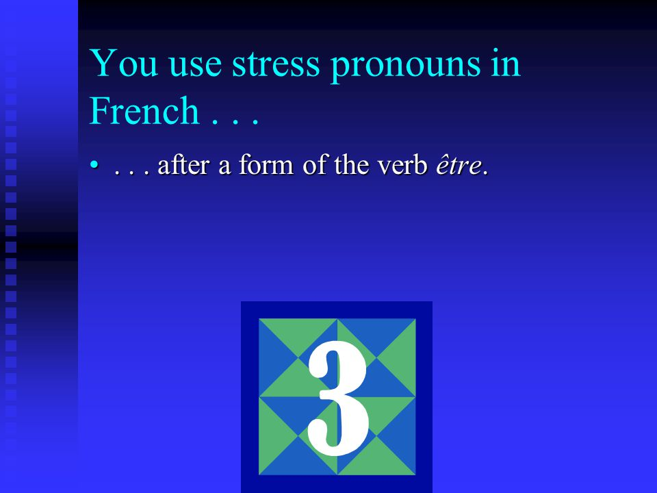 You use stress pronouns in French after a form of the verb être....