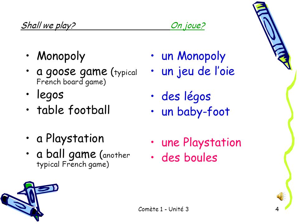baby foot vocabulaire