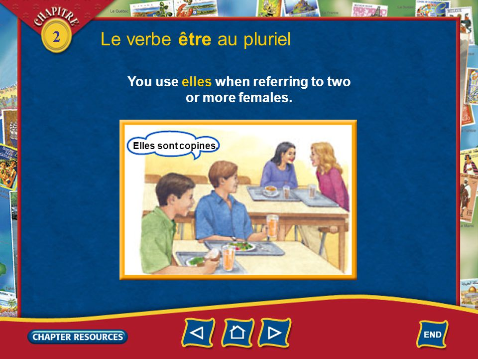2 Le verbe être au pluriel You use elles when referring to two or more females. Elles sont copines.